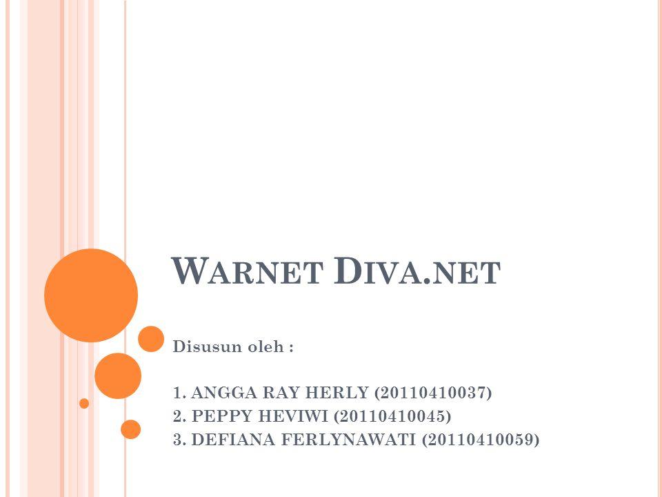 W ARNET D IVA.NET Disusun oleh : 1. ANGGA RAY HERLY (20110410037) 2.