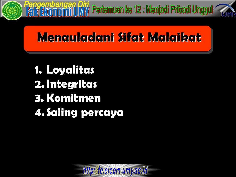 Menauladani Sifat Malaikat 1.Loyalitas 2.Integritas 3.Komitmen 4.Saling percaya