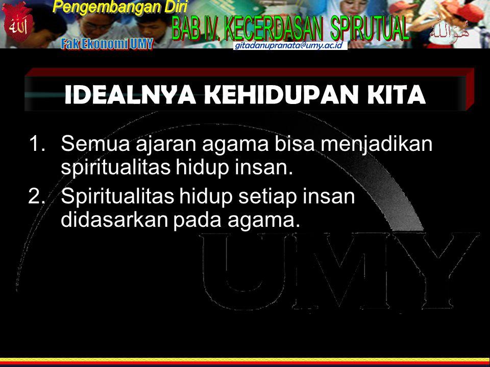 IDEALNYA KEHIDUPAN KITA 1.Semua ajaran agama bisa menjadikan spiritualitas hidup insan.