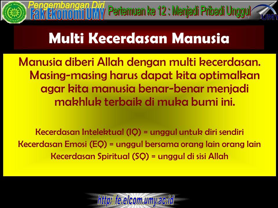 Multi Kecerdasan Manusia Manusia diberi Allah dengan multi kecerdasan.
