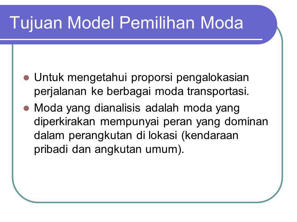 Teknik Peramalan Pemilihan Moda Dalam meramalkan model ini terdapat beberapa pertimbangan penting : Model bergantung pada ketersediaan data dan kecenderungan pelaku perjalanan dalam penggunaan moda.