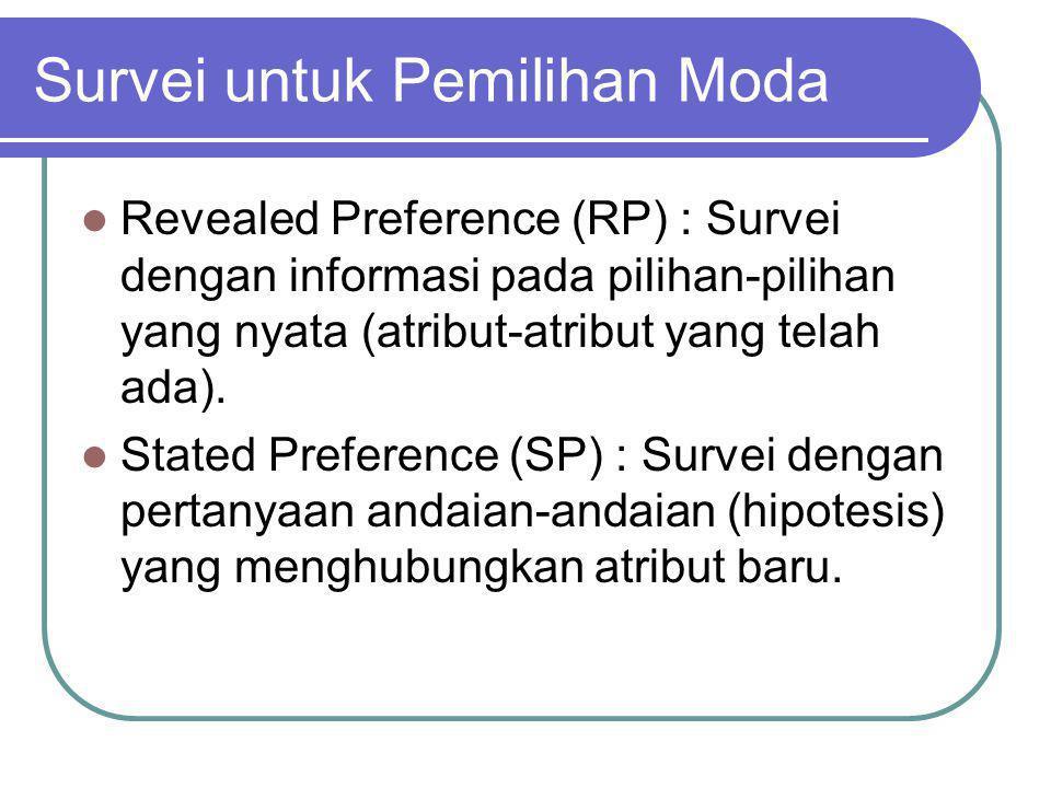 TRIP END MODAL SPLIT (2) Contoh : 1.