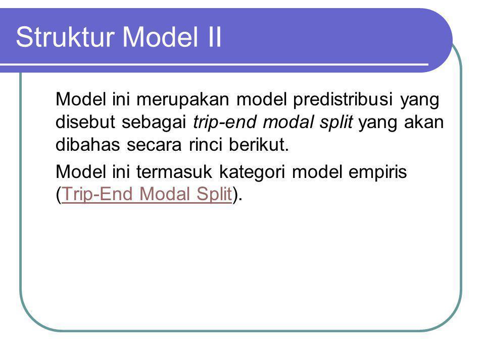 Struktur Model III Model pemilihan moda ini merupakan dilakukan bersamaan dengan distribusi dan merupakan metode yang sering digunakan untuk praktek peramalan angkutan perkotaan.