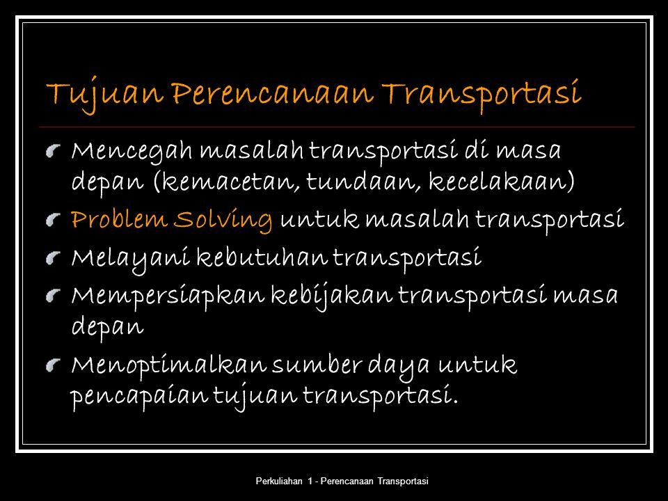 Perkuliahan 1 - Perencanaan Transportasi Tujuan Perencanaan Transportasi Mencegah masalah transportasi di masa depan (kemacetan, tundaan, kecelakaan)