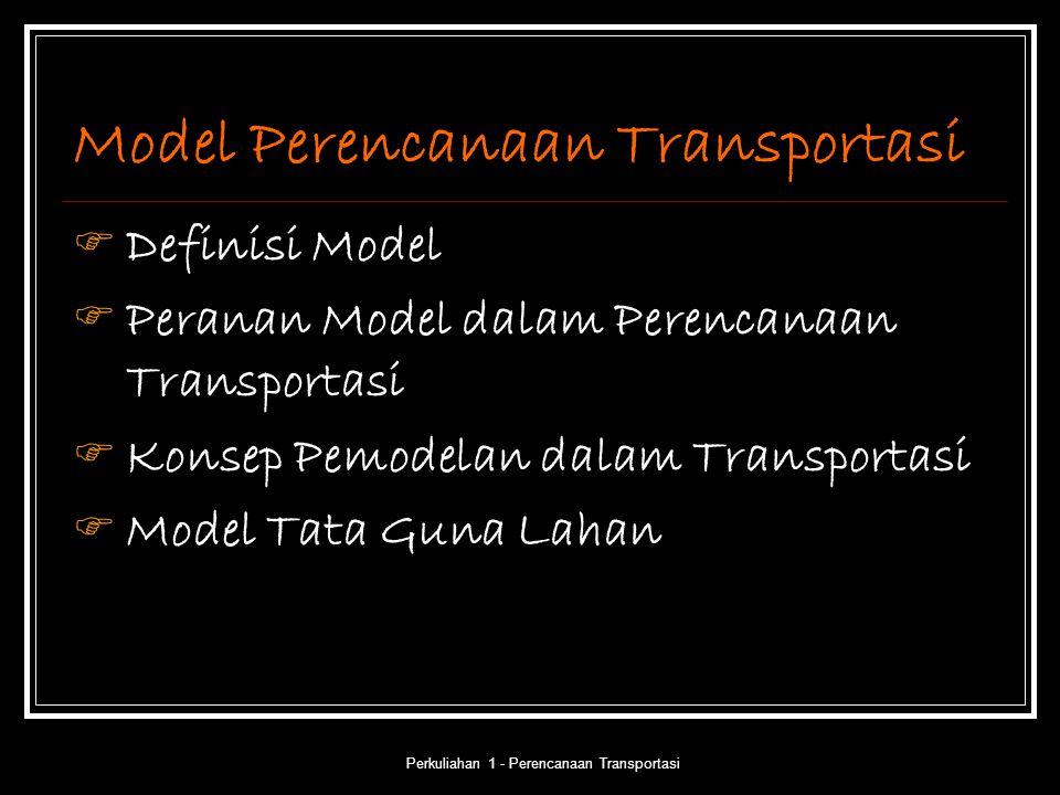 Perkuliahan 1 - Perencanaan Transportasi Model Perencanaan Transportasi  Definisi Model  Peranan Model dalam Perencanaan Transportasi  Konsep Pemod