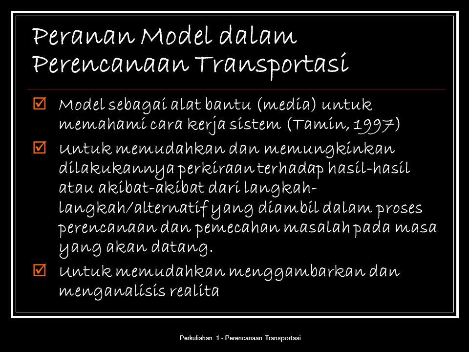 Perkuliahan 1 - Perencanaan Transportasi Peranan Model dalam Perencanaan Transportasi  Model sebagai alat bantu (media) untuk memahami cara kerja sis