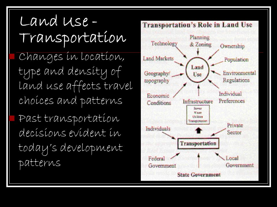 Land Use - Transportation Changes in location, type and density of land use affects travel choices and patterns Past transportation decisions evident