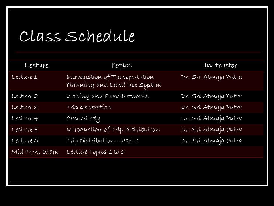 Class Schedule LectureTopicsInstructor Lecture 7Trip Distribution – Part 2Dr.