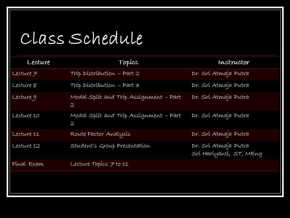 Class Schedule LectureTopicsInstructor Lecture 7Trip Distribution – Part 2Dr. Sri Atmaja Putra Lecture 8Trip Distribution – Part 3Dr. Sri Atmaja Putra