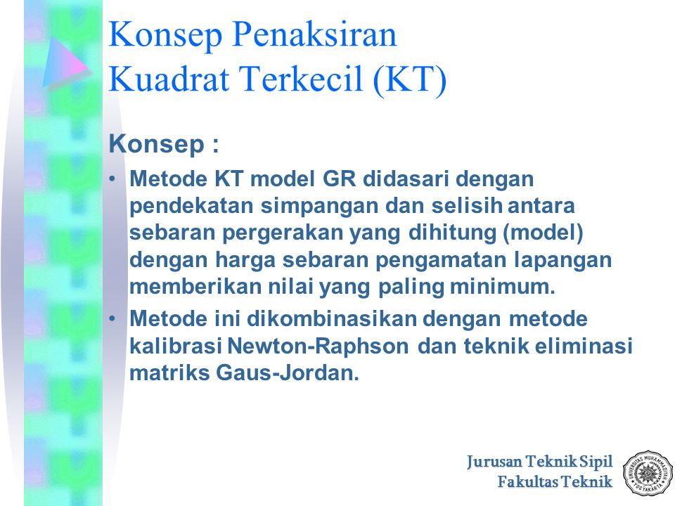 Jurusan Teknik Sipil Fakultas Teknik Konsep Penaksiran Kuadrat Terkecil (KT) Konsep : Metode KT model GR didasari dengan pendekatan simpangan dan seli
