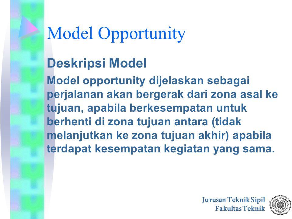 Jurusan Teknik Sipil Fakultas Teknik Model Opportunity Deskripsi Model Model opportunity dijelaskan sebagai perjalanan akan bergerak dari zona asal ke