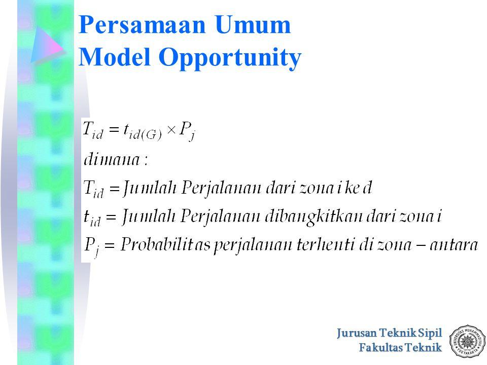 Jurusan Teknik Sipil Fakultas Teknik Persamaan Umum Model Opportunity