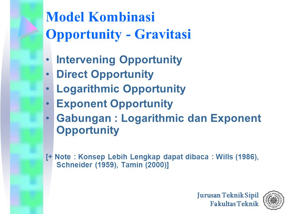 Jurusan Teknik Sipil Fakultas Teknik Model Kombinasi Opportunity - Gravitasi Intervening Opportunity Direct Opportunity Logarithmic Opportunity Expone
