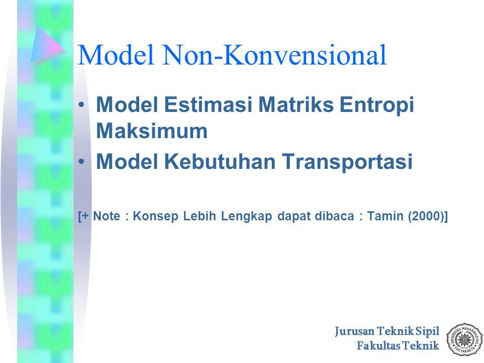 Jurusan Teknik Sipil Fakultas Teknik Model Non-Konvensional Model Estimasi Matriks Entropi Maksimum Model Kebutuhan Transportasi [+ Note : Konsep Lebi