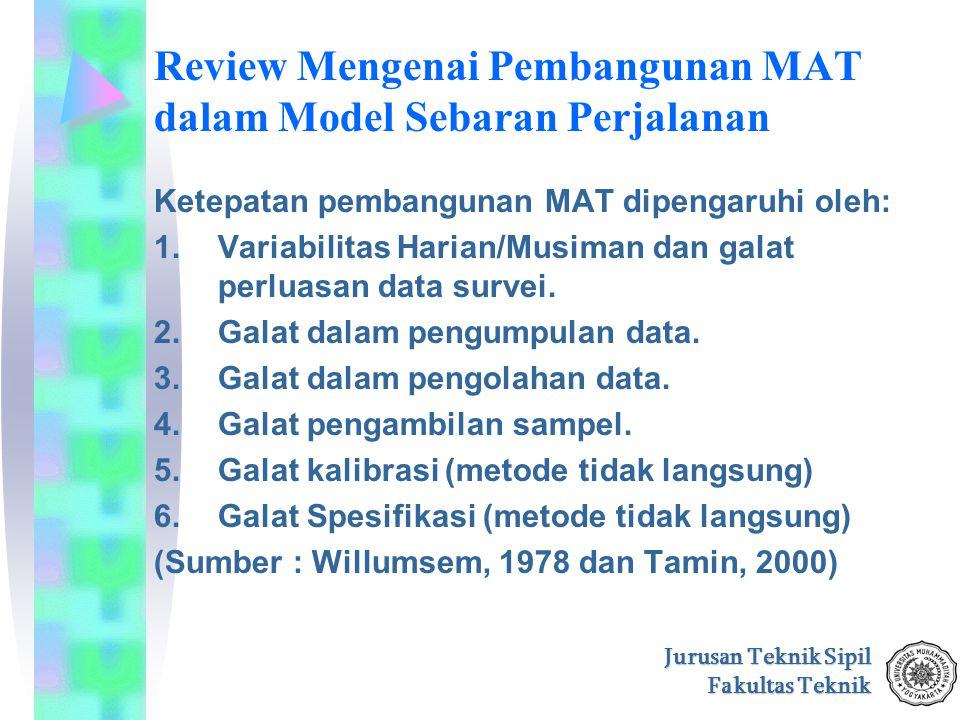 Jurusan Teknik Sipil Fakultas Teknik Review Mengenai Pembangunan MAT dalam Model Sebaran Perjalanan Ketepatan pembangunan MAT dipengaruhi oleh: 1.Vari