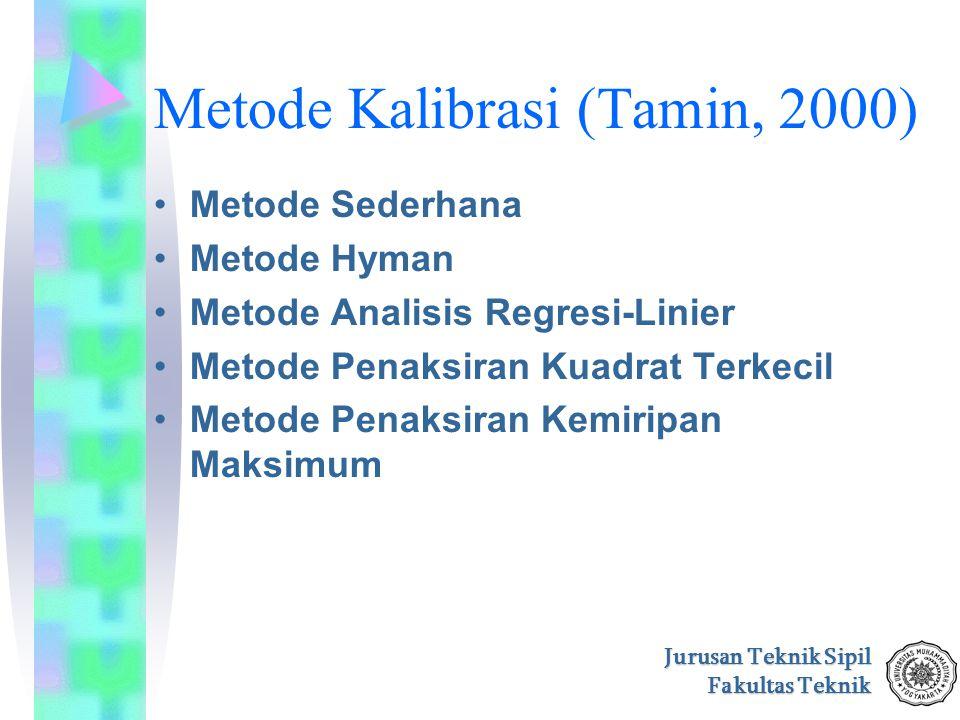 Jurusan Teknik Sipil Fakultas Teknik Metode Kalibrasi (Tamin, 2000) Metode Sederhana Metode Hyman Metode Analisis Regresi-Linier Metode Penaksiran Kua
