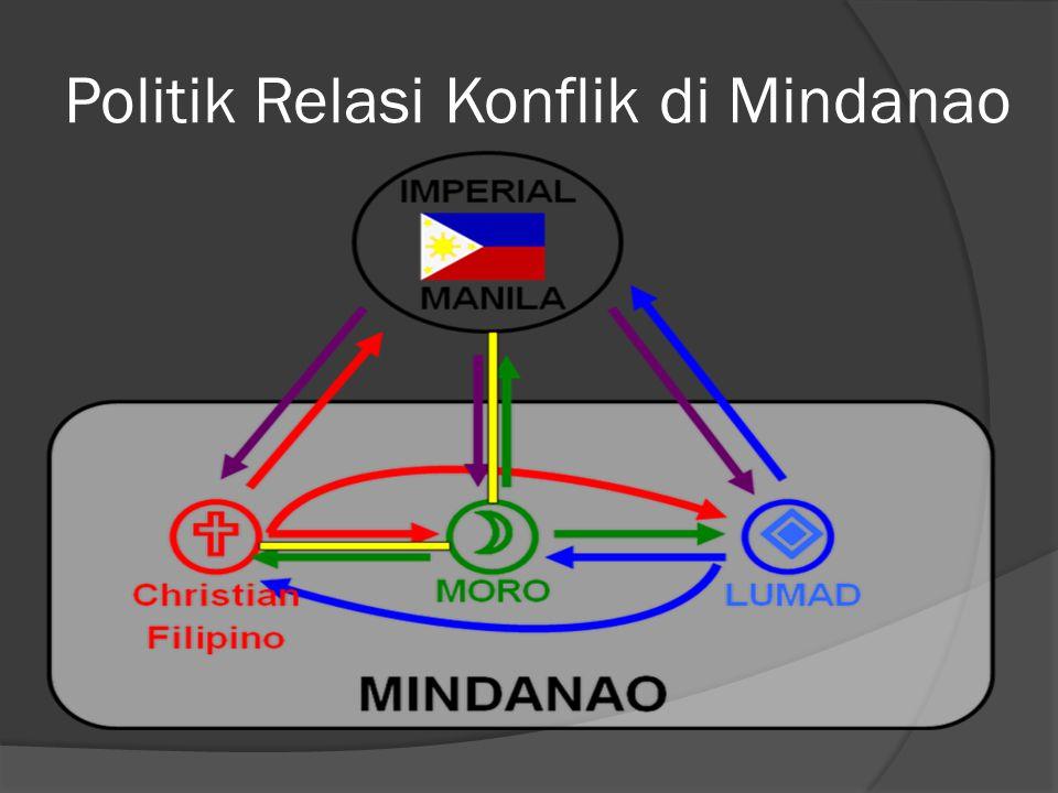 Dinamika Kompleksitas Konflik di Mindanao  Konflik Mindanao sebagai Masalah Primordial; khususnya antara etnis Moro dengan etnis Nasrani (tahun 1970-an), saling kecurigaan satu sama lain  Meluasnya masalah primordial, karena ada asumsi bahwa pemerintah Filipina identik dengan orang nasrani (Katolik-Konstitusi)) dan orang Moro sebagai Muslim dan berhaluan Fundamentalis (shariah)  Ada upaya marginalisasi demografi, social-ekonomi, tanah, adat istiadat dan politik dari regim Filipina terhadap Mindanao (khususnya di era Marcos)  Konflik Mindanao, sebagai masalah instrumentalis, sebuah pertarungan elit politik untuk mendapatkan kekuasaan.