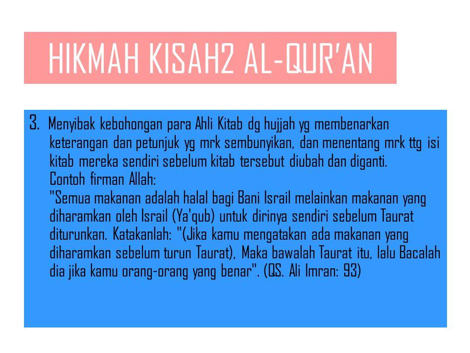 HIKMAH KISAH2 AL-QUR'AN 1.Menjelaskan asas2 dan dasar2 dakwah agama Allah dan menerangkan pokok2 syari'at yang diajarkan oleh para Nabi. 2.Meneguhkan