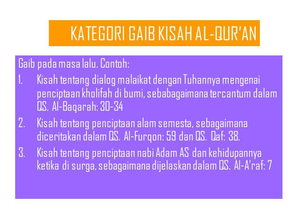 KATEGORI GAIB KISAH AL-QUR'AN Gaib pada masa lalu.