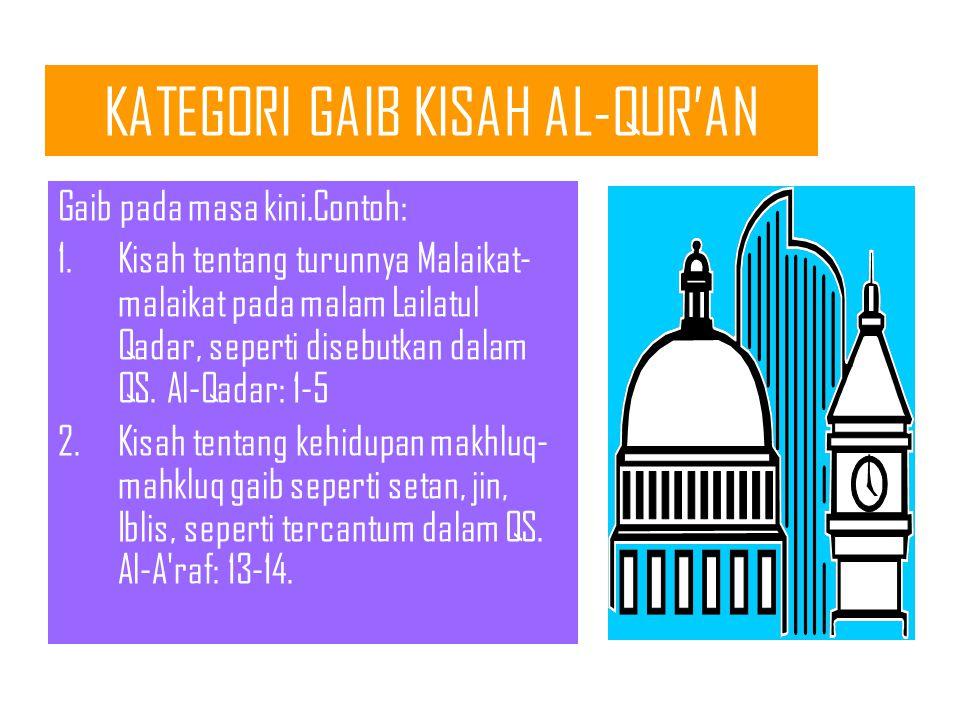 KATEGORI GAIB KISAH AL-QUR'AN Gaib pada masa lalu. Contoh: 1.Kisah tentang dialog malaikat dengan Tuhannya mengenai penciptaan kholifah di bumi, sebab