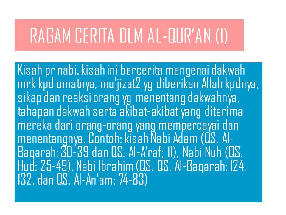KATEGORI GAIB KISAH AL-QUR'AN Gaib pada masa depan. Contoh: 1.Kisah tentang akan datangnya hari kiamat, seperti tercamtum dalam QS. Qori'ah, Al-Zalzal