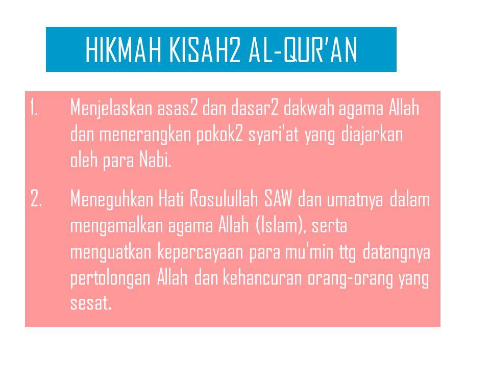 HIKMAH KISAH2 AL-QUR'AN 1.Menjelaskan asas2 dan dasar2 dakwah agama Allah dan menerangkan pokok2 syari at yang diajarkan oleh para Nabi.