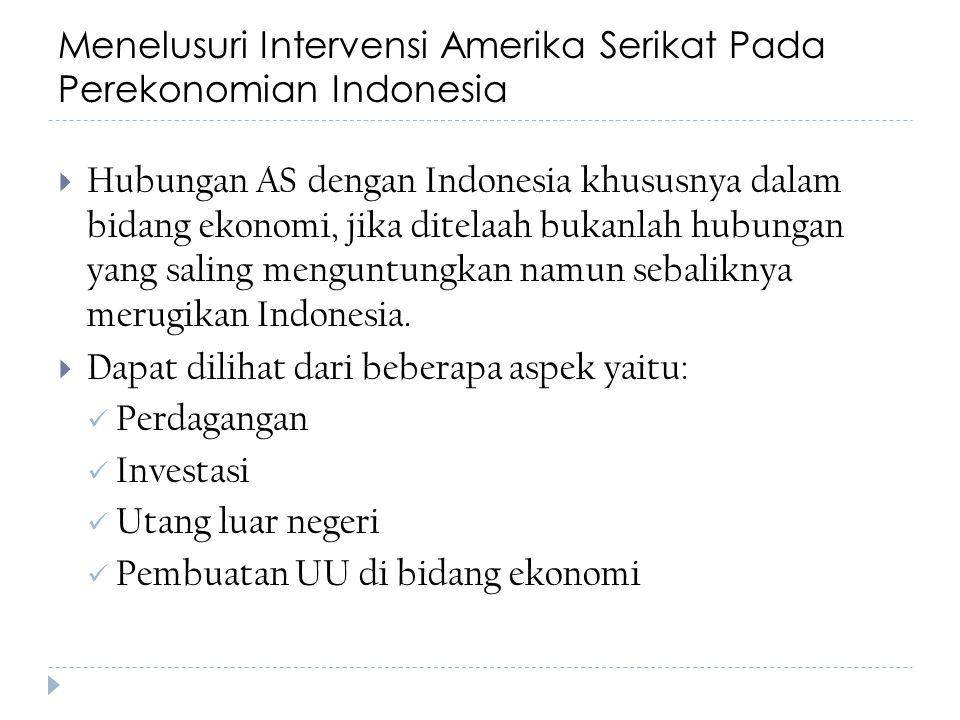 Menelusuri Intervensi Amerika Serikat Pada Perekonomian Indonesia  Hubungan AS dengan Indonesia khususnya dalam bidang ekonomi, jika ditelaah bukanla