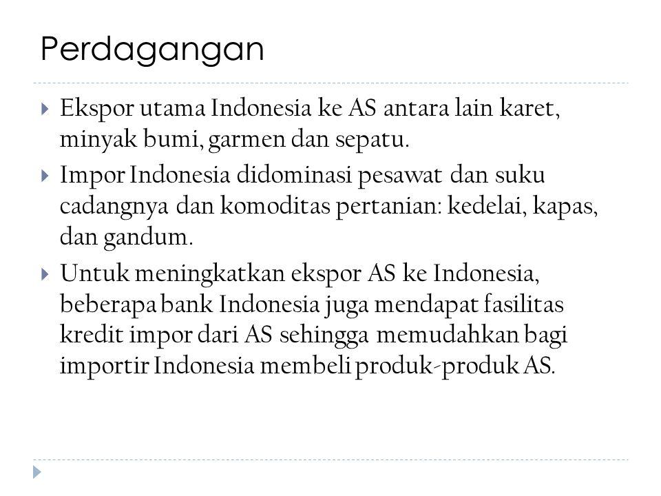 Perdagangan  Ekspor utama Indonesia ke AS antara lain karet, minyak bumi, garmen dan sepatu.  Impor Indonesia didominasi pesawat dan suku cadangnya