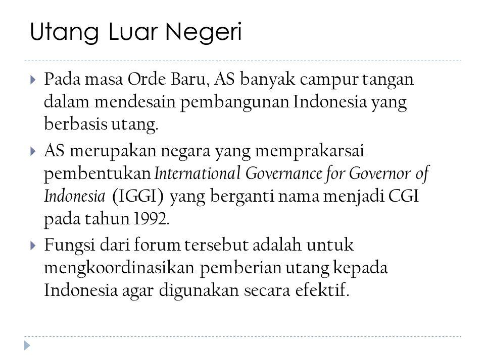 Utang Luar Negeri  Pada masa Orde Baru, AS banyak campur tangan dalam mendesain pembangunan Indonesia yang berbasis utang.  AS merupakan negara yang