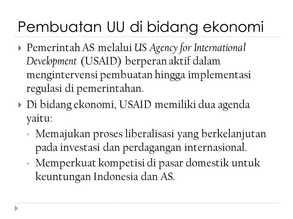 Pembuatan UU di bidang ekonomi  Pemerintah AS melalui US Agency for International Development (USAID) berperan aktif dalam mengintervensi pembuatan h