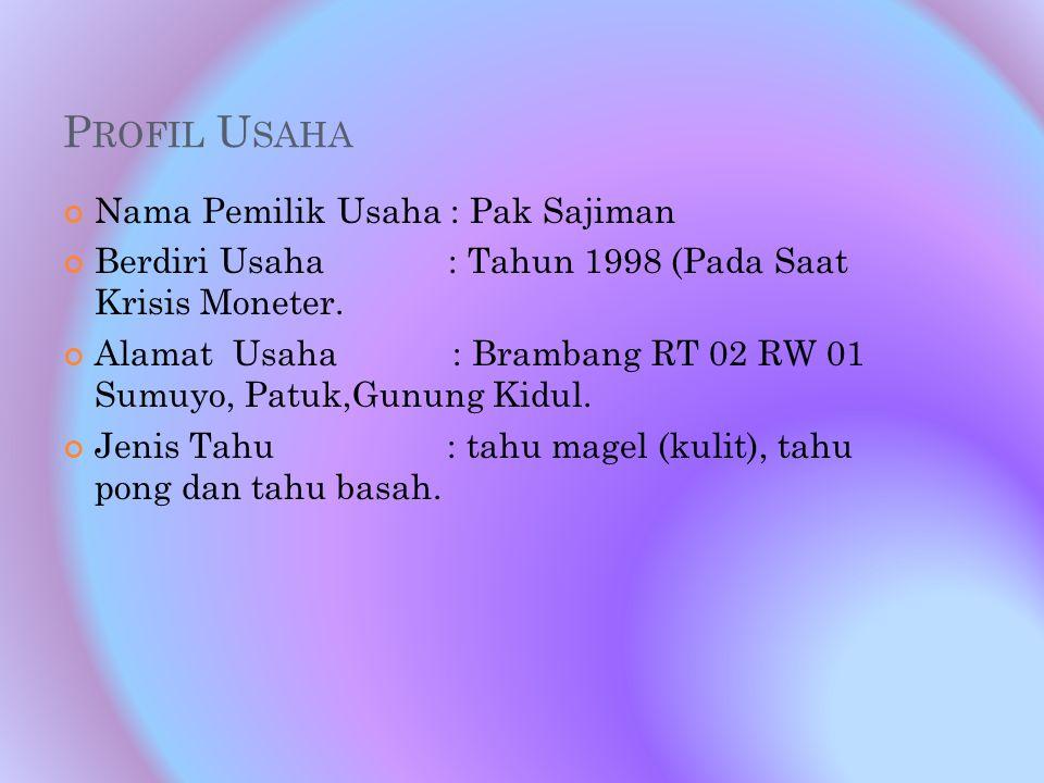 P ROFIL U SAHA Nama Pemilik Usaha : Pak Sajiman Berdiri Usaha : Tahun 1998 (Pada Saat Krisis Moneter. Alamat Usaha : Brambang RT 02 RW 01 Sumuyo, Patu