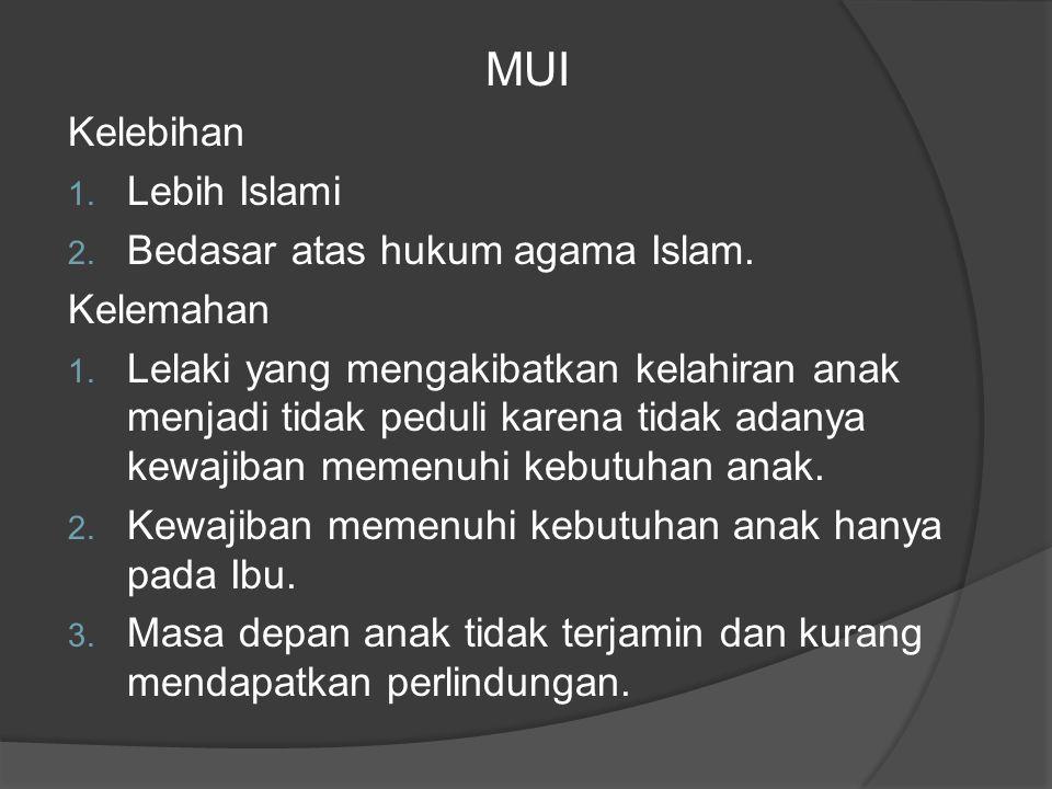 MUI Kelebihan 1. Lebih Islami 2. Bedasar atas hukum agama Islam.