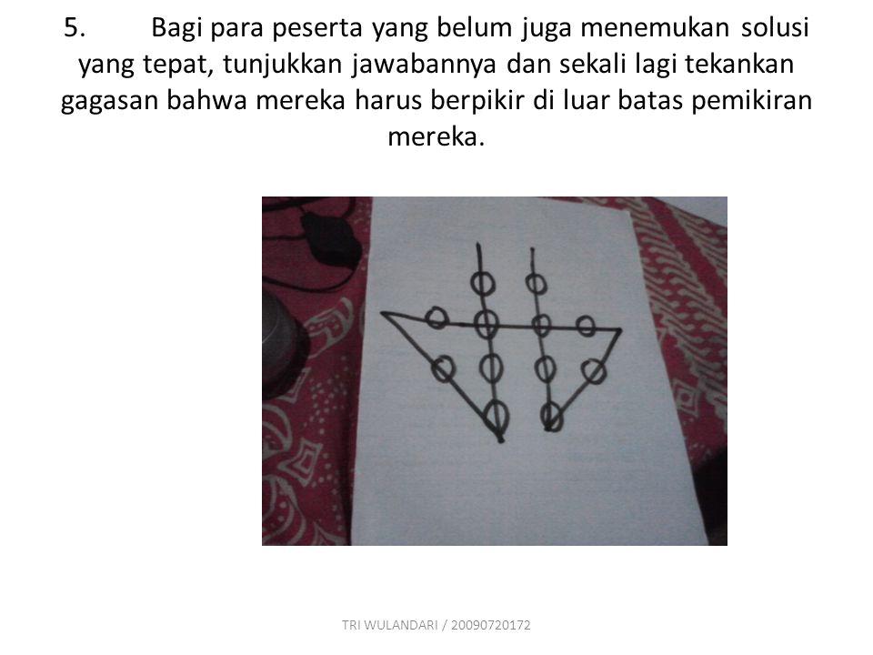4.Selanjutnya berikan masalah 12 titik kepada peserta. Mereka harus menggabungkan kedua belas titik tersebut dengan 5 garis lurus yang tidak terputus.