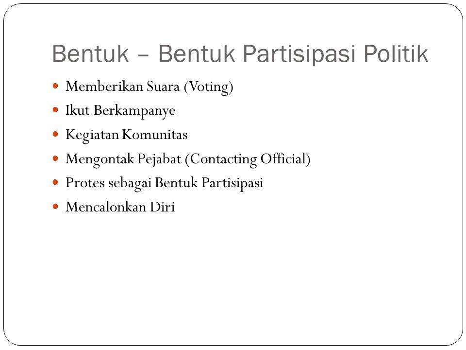 Bentuk – Bentuk Partisipasi Politik Memberikan Suara (Voting) Ikut Berkampanye Kegiatan Komunitas Mengontak Pejabat (Contacting Official) Protes sebag