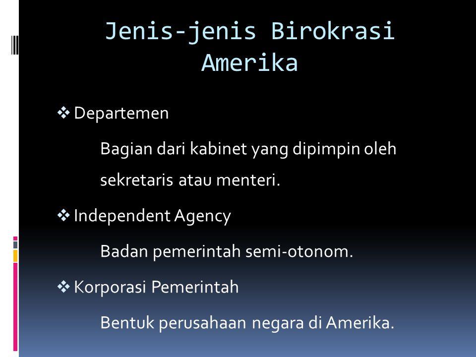Jenis-jenis Birokrasi Amerika  Departemen Bagian dari kabinet yang dipimpin oleh sekretaris atau menteri.  Independent Agency Badan pemerintah semi-