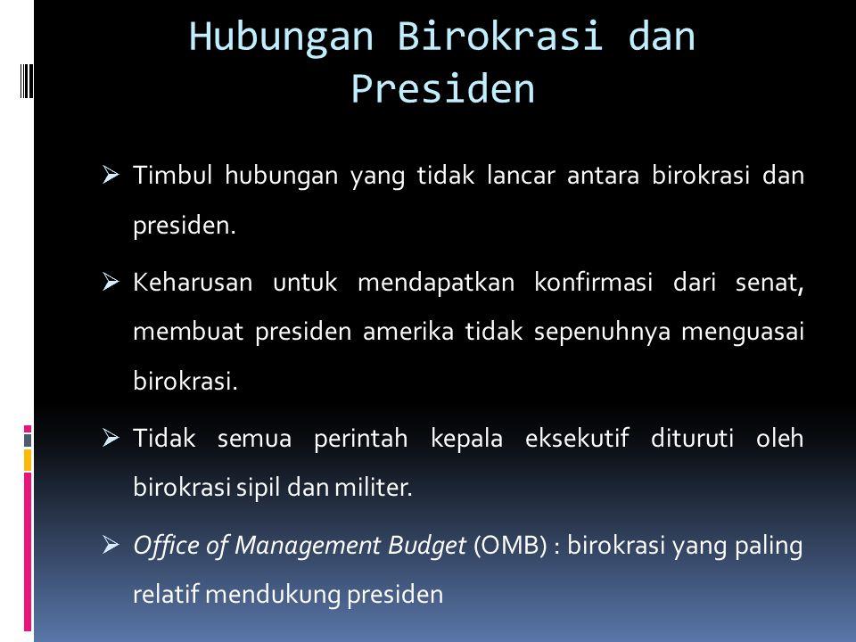 Hubungan Birokrasi dan Presiden  Timbul hubungan yang tidak lancar antara birokrasi dan presiden.  Keharusan untuk mendapatkan konfirmasi dari senat