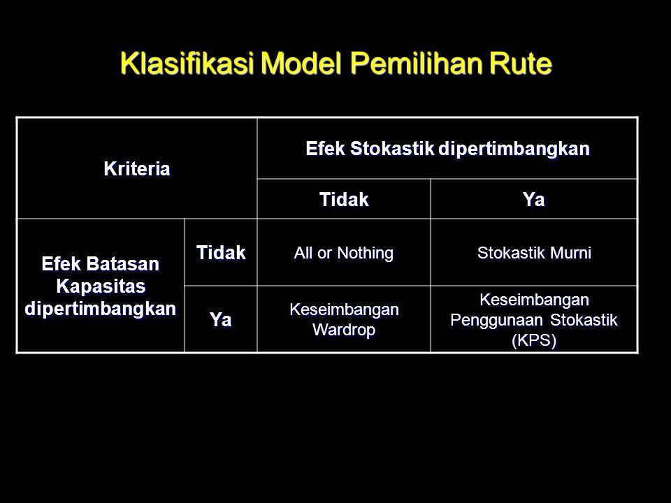 Klasifikasi Model Pemilihan Rute Kriteria Efek Stokastik dipertimbangkan TidakYa Efek Batasan Kapasitas dipertimbangkan Tidak All or Nothing Stokastik