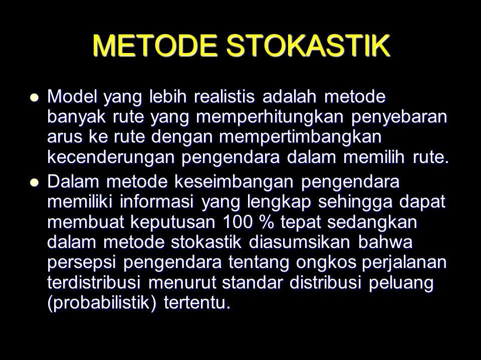 METODE STOKASTIK Model yang lebih realistis adalah metode banyak rute yang memperhitungkan penyebaran arus ke rute dengan mempertimbangkan kecenderung