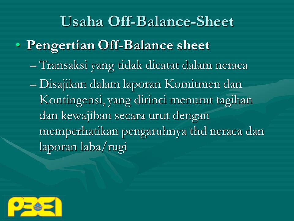 Usaha Off-Balance-Sheet Pengertian Off-Balance sheetPengertian Off-Balance sheet –Transaksi yang tidak dicatat dalam neraca –Disajikan dalam laporan Komitmen dan Kontingensi, yang dirinci menurut tagihan dan kewajiban secara urut dengan memperhatikan pengaruhnya thd neraca dan laporan laba/rugi