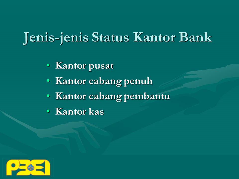 Jenis-jenis Status Kantor Bank Kantor pusatKantor pusat Kantor cabang penuhKantor cabang penuh Kantor cabang pembantuKantor cabang pembantu Kantor kasKantor kas