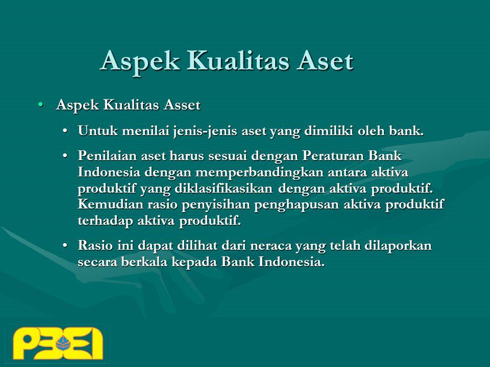 Aspek Kualitas Aset Aspek Kualitas AssetAspek Kualitas Asset Untuk menilai jenis-jenis aset yang dimiliki oleh bank.Untuk menilai jenis-jenis aset yang dimiliki oleh bank.