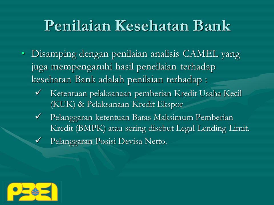 Penilaian Kesehatan Bank Disamping dengan penilaian analisis CAMEL yang juga mempengaruhi hasil peneilaian terhadap kesehatan Bank adalah penilaian terhadap :Disamping dengan penilaian analisis CAMEL yang juga mempengaruhi hasil peneilaian terhadap kesehatan Bank adalah penilaian terhadap : Ketentuan pelaksanaan pemberian Kredit Usaha Kecil (KUK) & Pelaksanaan Kredit Ekspor Ketentuan pelaksanaan pemberian Kredit Usaha Kecil (KUK) & Pelaksanaan Kredit Ekspor Pelanggaran ketentuan Batas Maksimum Pemberian Kredit (BMPK) atau sering disebut Legal Lending Limit.