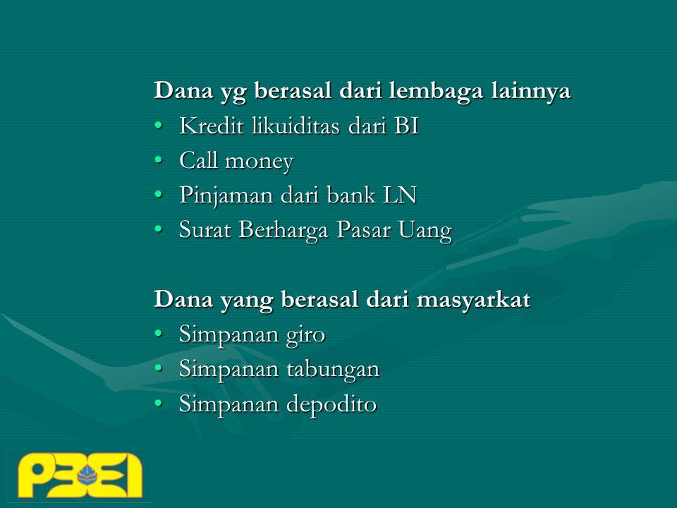 Dana yg berasal dari lembaga lainnya Kredit likuiditas dari BIKredit likuiditas dari BI Call moneyCall money Pinjaman dari bank LNPinjaman dari bank LN Surat Berharga Pasar UangSurat Berharga Pasar Uang Dana yang berasal dari masyarkat Simpanan giroSimpanan giro Simpanan tabunganSimpanan tabungan Simpanan depoditoSimpanan depodito