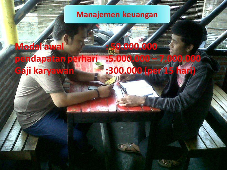 Manajemen keuangan Modal awal: 50.000.000 pendapatan perhari:5.000.000 – 7.000.000 Gaji karyawan:300.000 (per 15 hari)
