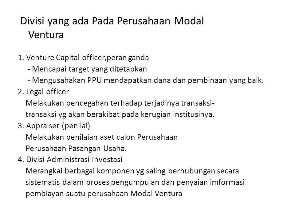 Divisi yang ada Pada Perusahaan Modal Ventura 1. Venture Capital officer,peran ganda - Mencapai target yang ditetapkan - Mengusahakan PPU mendapatkan