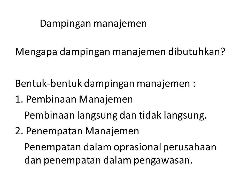 Dampingan manajemen Mengapa dampingan manajemen dibutuhkan? Bentuk-bentuk dampingan manajemen : 1. Pembinaan Manajemen Pembinaan langsung dan tidak la