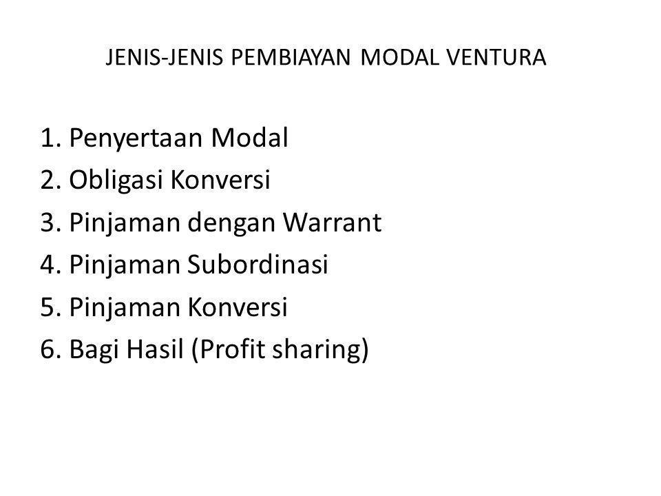 Alasan Kurang Berkembangnya Pola Penyertaan Dibandingkan DenganSistem Bagi Hasil pada Perusahaan Modal Ventura di Indonesia 1.Perusahaan yang mendapat suntikan dana adalah perusahaan yang berbentuk Perseroan Terbatas (PT).