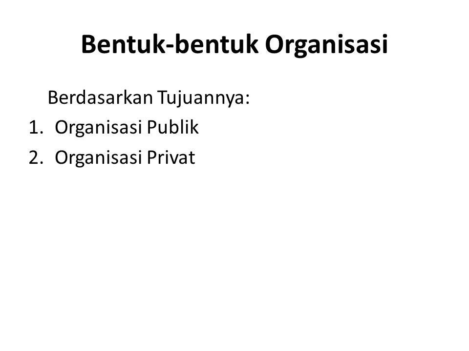 Bentuk-bentuk Organisasi Berdasarkan Tujuannya: 1.Organisasi Publik 2.Organisasi Privat