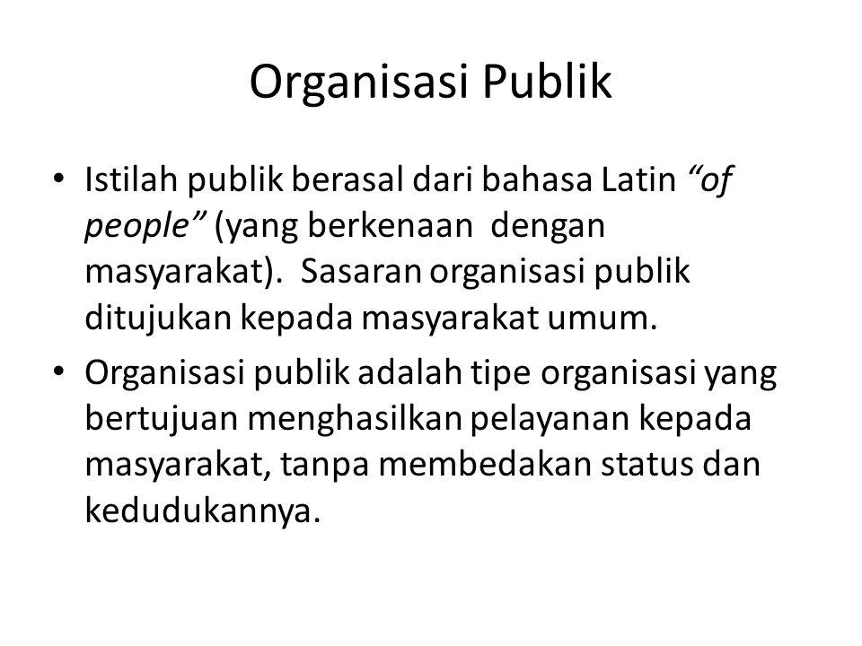 "Organisasi Publik Istilah publik berasal dari bahasa Latin ""of people"" (yang berkenaan dengan masyarakat). Sasaran organisasi publik ditujukan kepada"