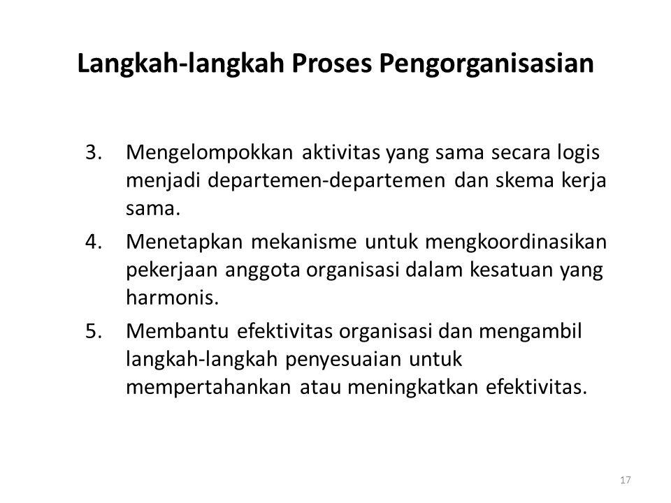 17 Langkah-langkah Proses Pengorganisasian 3. Mengelompokkan aktivitas yang sama secara logis menjadi departemen-departemen dan skema kerja sama. 4.Me